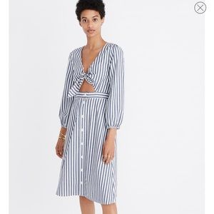 Madewell Dresses - Madewell Shimmer Stripe Cutout Midi Dress